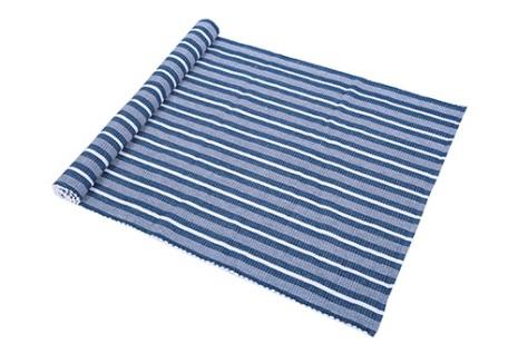 Ripsmatta Carl 70x250 blå/vit