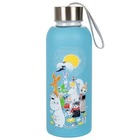 Vattenflaska glas mumin sommardag