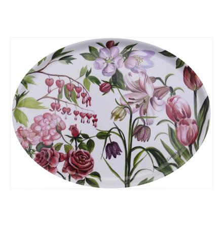 Oval Bricka rosa blom